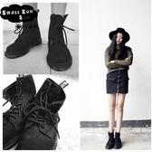 馬丁靴女英倫粗跟短筒靴圓頭系帶騎士機車靴短靴女夏
