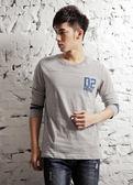【BTIS】3/4-Splicing Sleeve Tee 男七分袖T恤 麻灰色