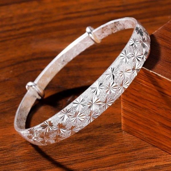 999足銀手鐲女純銀小眾設計潮手鏈可調節簡約送女友媽媽生日禮物