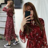 2018韓版小清新V領系帶碎花長裙雪紡連身裙