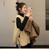 馬甲 秋裝正韓2020新款寬鬆套頭圓領設計感側邊綁帶學生針織背心馬甲女 店慶降價