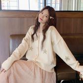 2020早秋新款女裝V領慵懶風寬鬆星星洋氣針織開衫外套