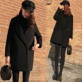 黑色毛呢外套女中長款正韓秋裝顯瘦繭型小個子呢子大衣潮【尾牙交換禮物】