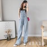 高腰牛仔背帶褲女直筒韓版寬鬆2020年新款時尚春夏顯瘦垂感闊腿褲 yu13051『寶貝兒童裝』