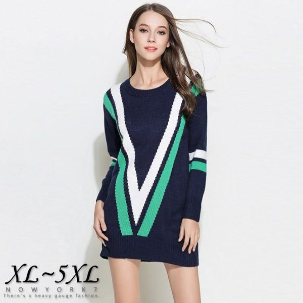 大尺碼 歐美撞色顯瘦大V字長袖壓紋針織衫/毛衣XL~5XL 【紐約七號】A1-289