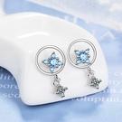 耳環 精緻奢華藍星星鋯石垂墜 925銀針耳環