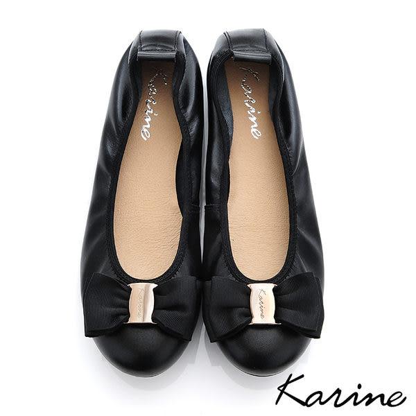 全真皮鬆緊帶平底娃娃鞋-黑色‧MIT台灣製‧karine