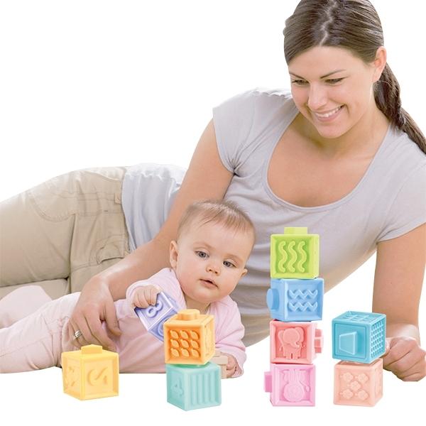 SGS磨牙玩具 3D軟膠積木 捏捏樂 認知磚塊益智玩具 早教玩具-JoyBaby