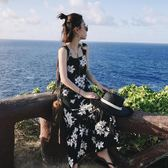 碎花吊帶連身裙 洋裝女2019夏新品中長款正韓寬鬆沙灘長裙復古露背裙子 情人節禮物