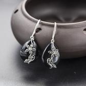耳環 925純銀黑瑪瑙-優雅大方生日情人節禮物女飾品73hl72【時尚巴黎】