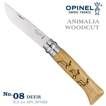 丹大戶外【OPINEL】ANIMALIA - WOODCUT 法國刀動物圖騰-鹿 No.08 001620