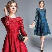 大碼洋裝連身裙8130長袖女修身顯瘦中長款蕾絲大擺連身裙ZL609衣人有約