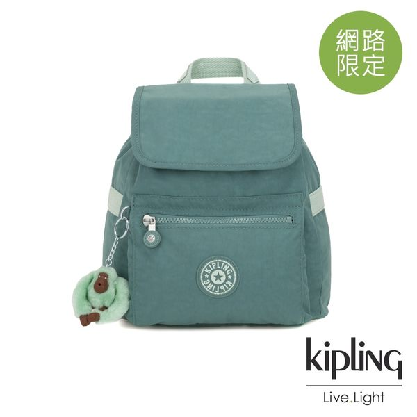 Kipling 溫柔森林綠翻蓋束口後背包-NEW ELLA