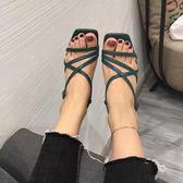 韓版方頭高跟凉鞋女夏一字扣帶粗跟細帶露趾復古交叉綁帶鞋女瑪麗蓮安