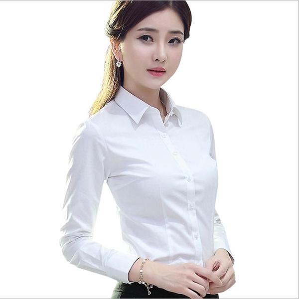 短袖襯衫 白襯衫女短袖長袖寬鬆夏裝半袖工作服正裝工裝大碼襯衣職業女裝ol-Ballet朵朵