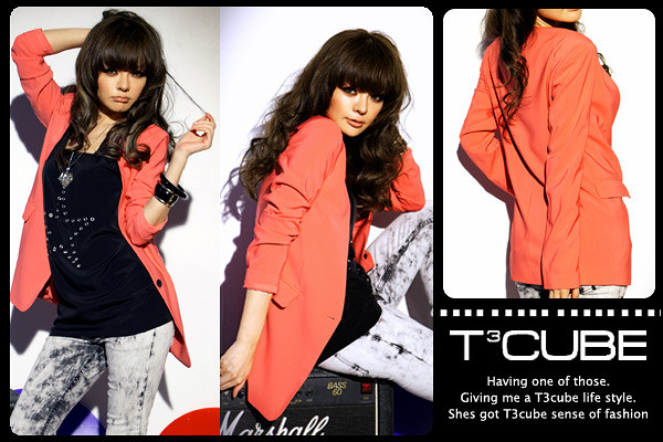 【T3CUBE】話題時尚~俐落顯瘦西裝外套(櫻桃紅)