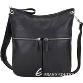 LONGCHAMP Le Foulonne 荔紋小牛皮雙拉鍊口袋斜背包(黑色) 1910160-01