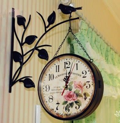 鐵藝壁式雙面掛鐘  小鳥掛鐘超靜音【藍星居家】