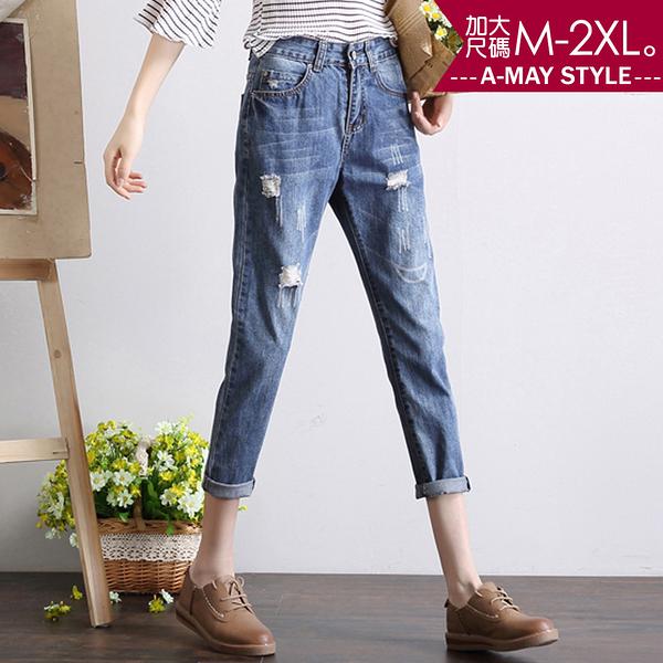 加大碼-率性刷破九分牛仔褲(M-2XL)