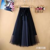 2020秋夏新款百褶裙中長款A字拼色網紗半身裙垂感紗裙女半身『艾麗花園』
