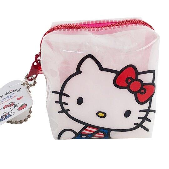 小禮堂 Hello Kitty 方形防水零錢包 果凍零錢包 掛飾零錢包 耳機包 銅板小物 (白 大臉) 4573135-59010