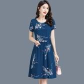 中老年女裝夏裝新款棉綢洋裝闊太太洋氣高貴中年媽媽裝過膝裙子 XL-5XL