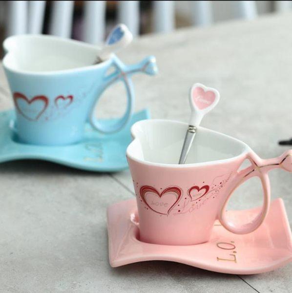 骨瓷杯-陶瓷創意心形情侶杯歐式咖啡杯套裝英式下午茶禮品杯帶勺【年中慶八五折鉅惠】