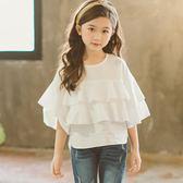 夏春季韓版童裝女童T恤中大童喇叭袖