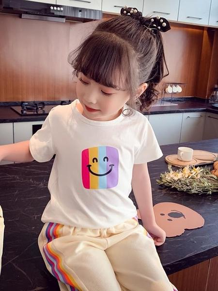 女童短袖T恤夏裝新款兒童韓版洋氣圓領短袖上衣小女孩打底衫 格蘭小鋪