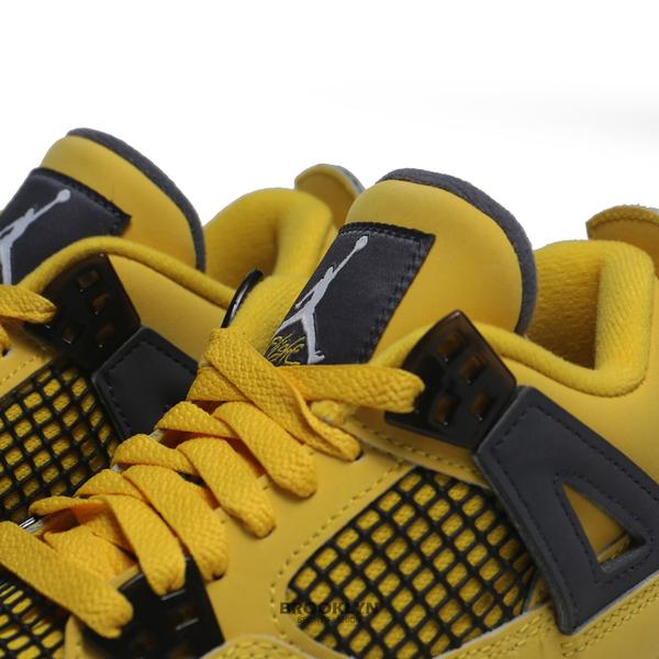 "NIKE 籃球鞋 AIR JORDAN 4 RETRO GS ""TOUR YELLOW"" 閃電黃 4代 復刻 女 (布魯克林) 408452-700"