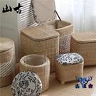 儲物凳收納凳子家用藤編織矮凳桌邊實木圓凳【古怪舍】