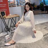 大韓訂製日系洋裝中長氣質碎花裙百褶A字裙復古束腰連身裙