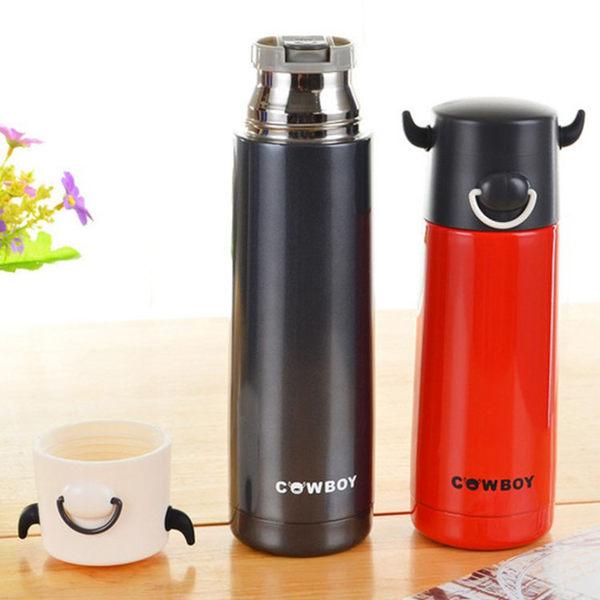 保溫瓶【KCW072】 自信牛角造型保溫瓶500ml 真空不鏽鋼 保溫 對杯 水瓶-123ok