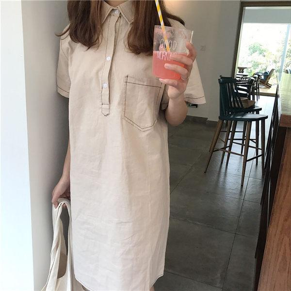 [協貿國際]POIO領中長款明線純色裙子  原宿風連衣裙1入