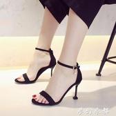 貓跟涼鞋女新款露趾網紅同款細跟百搭一字帶仙女風黑色高跟鞋夢幻衣都