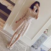 初秋裝新款韓版女裝寬鬆兩件套套裝裙子馬甲蕾絲中長款洋裝   聖誕節快樂購