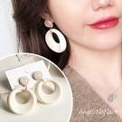 銀針乳白色復古簍空圓環壓克力S925銀針耳針 (SRA0133) AngelNaNa