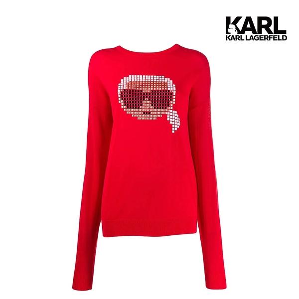 KARL LAGERFELD IKONIK大頭數碼造型運動衫-紅