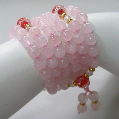 【歡喜心珠寶】【粉晶6.5mm108顆念珠念佛珠】天然巴西粉晶「附保証書」念佛倍加功德。