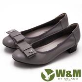 W&M 淑女蝴蝶結鑽飾造型低跟 女鞋-灰(另有黑)