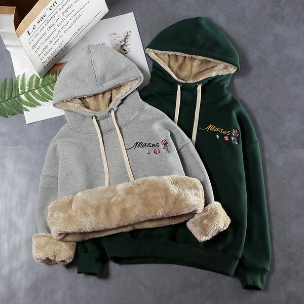 連帽套頭衛衣女 秋冬裝新款 韓版寬鬆加絨超厚 保暖羊羔絨外套 文藝風