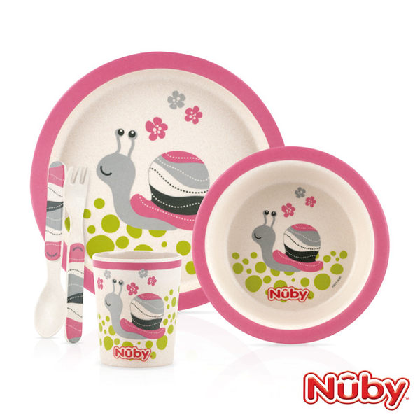 Nuby 竹纖維兒童學習餐具5件組 蝸牛 麗翔親子館