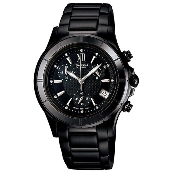CASIO SHEEN 小資美人陶瓷三環晶鑽腕錶(黑)