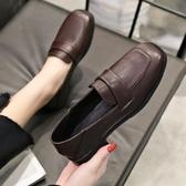 女鞋新款秋鞋韓版高跟鞋英倫風休閒小皮鞋百搭爆款粗跟單鞋子 交換禮物