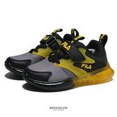 FILA 童鞋 燈鞋 黑黃灰 黏帶 發光 運動鞋 小童 中童 (布魯克林) 7J852V066