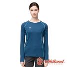 【wildland 荒野】女 POLARTEC功能圓領長袖衣『深藍』P1609 戶外 休閒 運動 吸濕 排汗 快乾 舒適