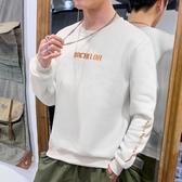 連帽T恤男生韓版寬鬆潮流2019春秋新款學生無帽套頭圓領港風長袖上衣 Cocoa