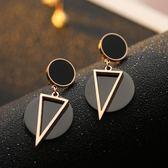 大氣潮流新品圓圈三角長款耳環氣質韓國百搭鈦鋼耳釘耳飾品女