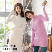 東京著衣-多色百搭條紋收邊長版針織上衣(172949)