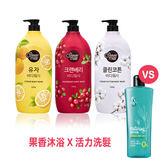 【Shower Mate】微風如沐 果香沐浴乳(1200g)+【KERASYS可瑞絲】無矽靈頭皮活力洗髮精(200ml)